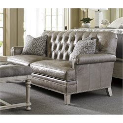 Lexington Oyster Bay Hillstead Tufted Leather Loveseat in Millstone