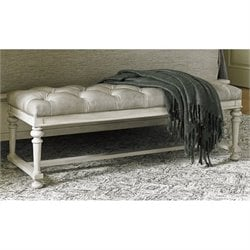 Lexington Oyster Bay Bellport Tufted Leather Bench in Milllstone