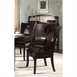 Somerton Dwelling Signature Upholstered Dining Arm Chair in Mocha Finish