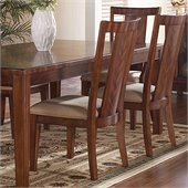 Somerton Dwelling Runway Contemporary Fabric Dining Side Chair in Warm Brown Finish