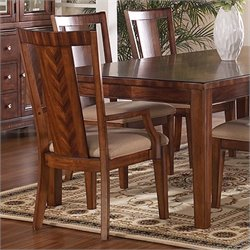 Somerton Dwelling Runway Contemporary Fabric Dining Arm Chair in Warm Brown Finish