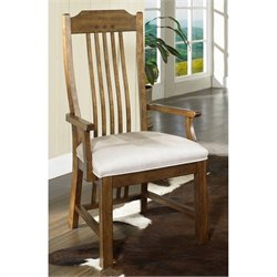 Somerton Dwelling Craftsman Mission Fabric Dining Arm Chair in Brown Finish