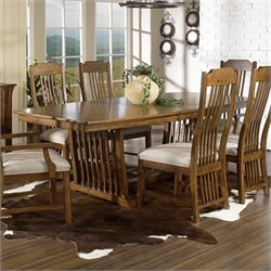 Somerton Dwelling Craftsman Mission 7 Piece Dining Set in Brown Finish