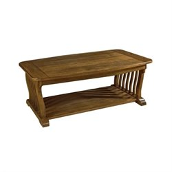 Somerton Dwelling Craftsman Mission Rectangular Wood Cocktail Table in Brown
