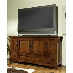 Somerton Craftsman TV Stand in Medium Brown Oak