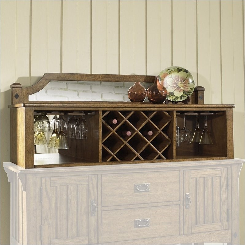 Dwelling Craftsman Mission Drink Server Hutch in Brown Finish