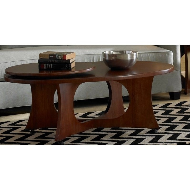Dwelling Manhattan Modern Art Oval Cocktail Wood Table in Coffee Brown
