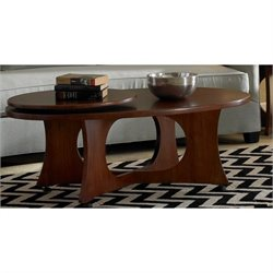 Somerton Dwelling Manhattan Modern Art Oval Cocktail Wood Table in Coffee Brown