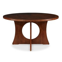 Somerton Dwelling Manhattan Round Pedestal Dining Table in Brown Walnut