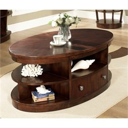 Somerton Dwelling Montecito Oval Cocktail Table in Warm Brown
