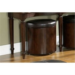 Somerton Morgan Round Leather Stool in Deep Brown