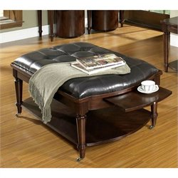 Somerton Morgan Leather Coffee Table with Cushion in Deep Brown