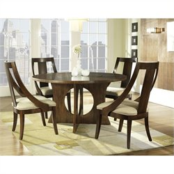 Somerton Dwelling Manhattan Modern Art 5 Piece Dining Set in Brown Walnut