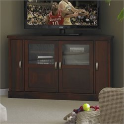 Somerton Studio Corner TV Stand in Mid Tone Brown Mahogany