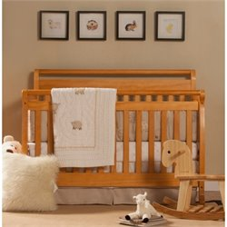 DaVinci Emily 4-in-1 Convertible Wood Baby Crib with Toddler Rail in Honey Oak