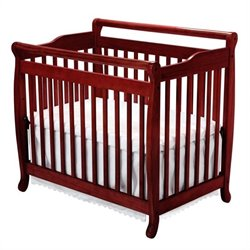 DaVinci Emily Mini 2-in-1 Convertible Crib with Twin Bed Rails in Cherry