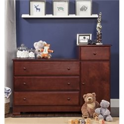 DaVinci Kalani Wood 4 Drawer Combo Chest With Shelf in Cherry Finish