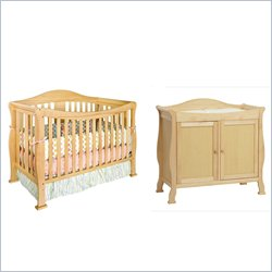 DaVinci Parker 4-in-1 Convertible Wood Crib Set w/ Toddler Rail in Natural