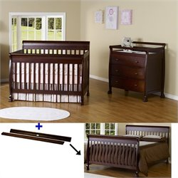DaVinci Kalani 4-in-1 Convertible Crib Set with Toddler Rail in Espresso