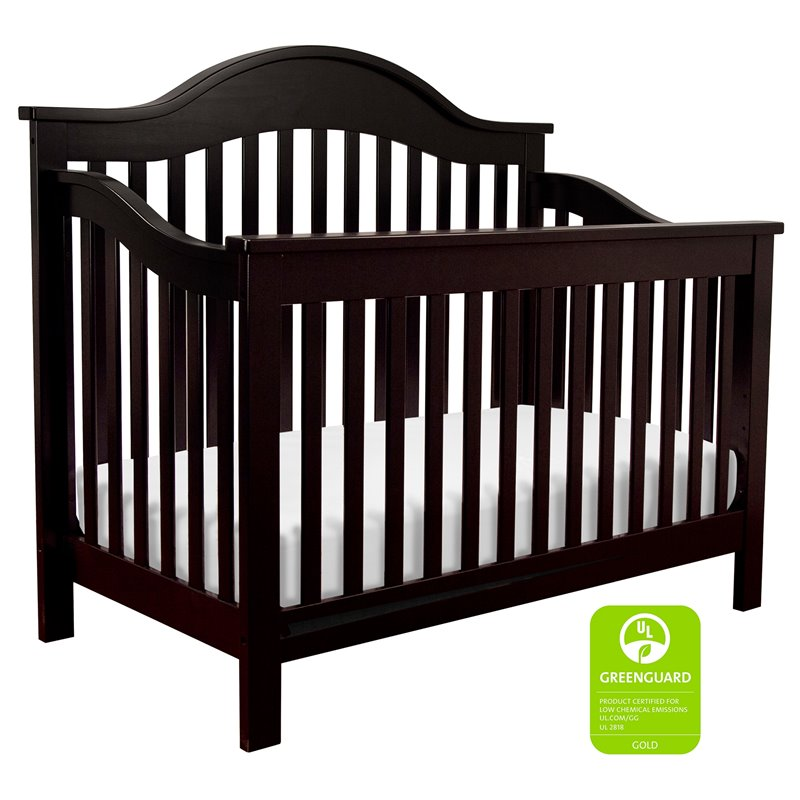 DaVinci Jayden 4-in-1 Convertible Wood Crib with Toddler Rail in Ebony