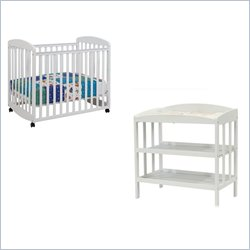 DaVinci Alpha Rocking Mini Mobile Wood Baby Crib Set With Changing Table in White