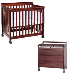 DaVinci Kalani Mini 2-in-1 Convertible Crib with Changing Table in Cherry