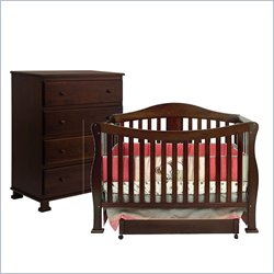 DaVinci Parker 4 in 1 Convertible Wood Baby Crib and 4 Drawer Chest in Coffee Finish with Free Mattress