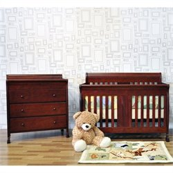 DaVinci Porter 4-in-1 convertible Crib Crib and 3-drawer Changer in Cherry Including Toddler Rails
