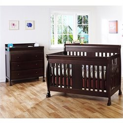 DaVinci Porter 4-in-1 convertible Crib Crib and 3-drawer Change in Espresso Including Toddler Rails