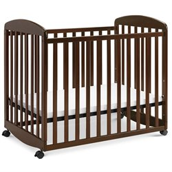 DaVinci Alpha Mini Rocking Wood Baby Crib in Espresso