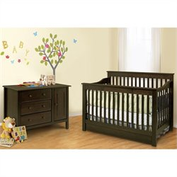 DaVinci Piedmont 2 Piece 4-In-1 Convertible Crib Set in Espresso