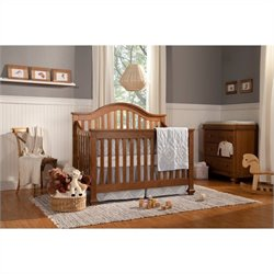 DaVinci Clover 4-in-1 Convertible Crib in Chestnut with Crib Mattress