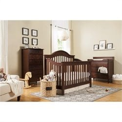 DaVinci Jayden 4-in-1 Convertible Crib in Espresso with Crib Mattress