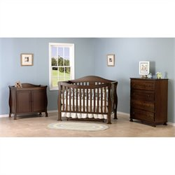 DaVinci Parker 4-in-1 Convertible Crib in Coffee with Crib Mattress