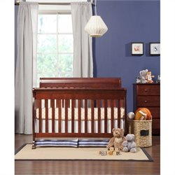 DaVinci Kalani 4-in-1 Convertible Crib in Cherry with Crib Mattress