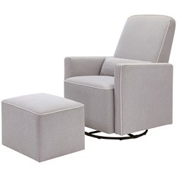 DaVinci Olive Swivel Glider and Ottoman in Gray