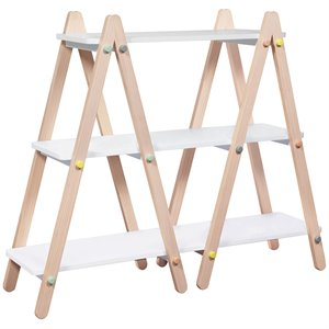 Babyletto Dottie 3 Shelf Bookcase in White and Washed Natural