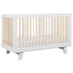 Babyletto Hudson 3-in-1 Convertible Crib in White and Washed natural