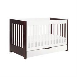 Babyletto Mercer 3-in-1 Convertible Wood Crib in Espresso and White