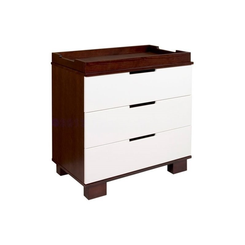 Babyletto Modo 3-Drawer Wood Changing Table w/ Tray in Espresso/White
