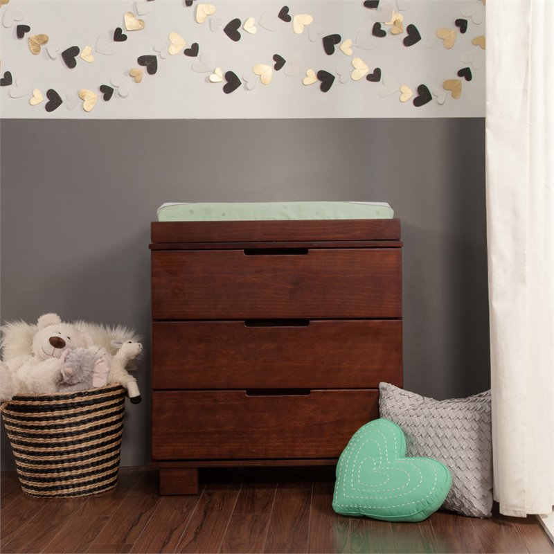 Babyletto Modo 3-Drawer Wood Changing Table w/ Tray in Espresso