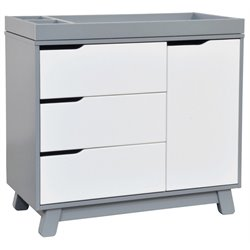 Babyletto Hudson Changer with Removable Changing Tray in Grey / White