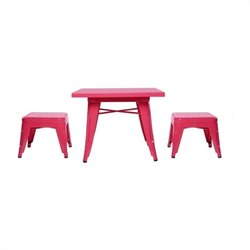 Babyletto Lemonade Playset Table and Backless Stools in Flamingo