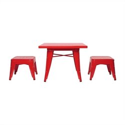 Babyletto Lemonade Playset Table and Backless Stools in Strawberry