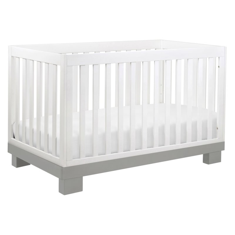 Babyletto Modo 3-in-1 Convertible Crib in Grey and White