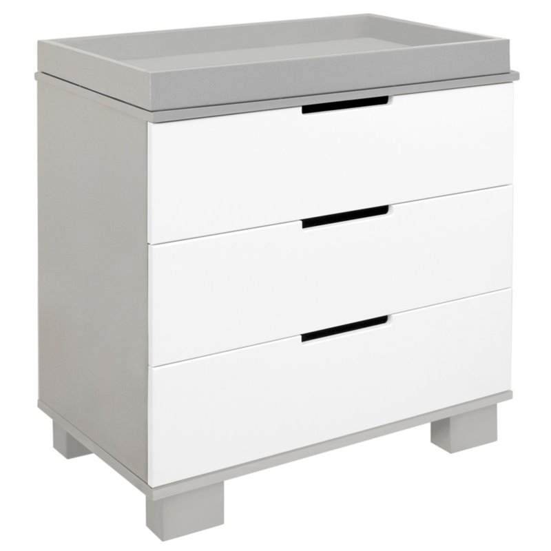 Modo 3 Drawer Changer Dresser in White and Grey