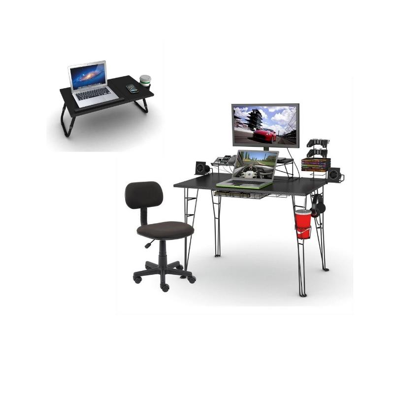 Atlantic 3 Piece Gaming Desk and Chair with Laptop Tray Set