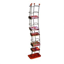 74 DVD Storage Tower in Black and Cherry