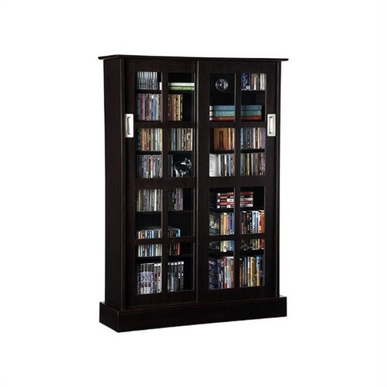 Windowpane Sliding Glass Door Media Cabinet in Espresso