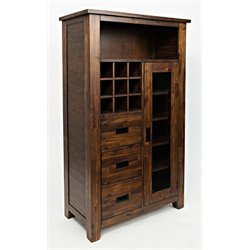 Jofran Coolidge Corner Wine Cabinet in Warm Brown